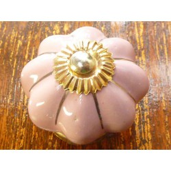 Boutons en porcelaine rose filet doré