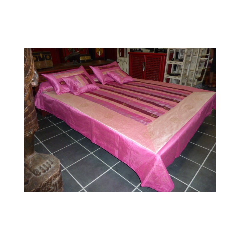 parure de lit rayures taffetas rose et fushia. Black Bedroom Furniture Sets. Home Design Ideas