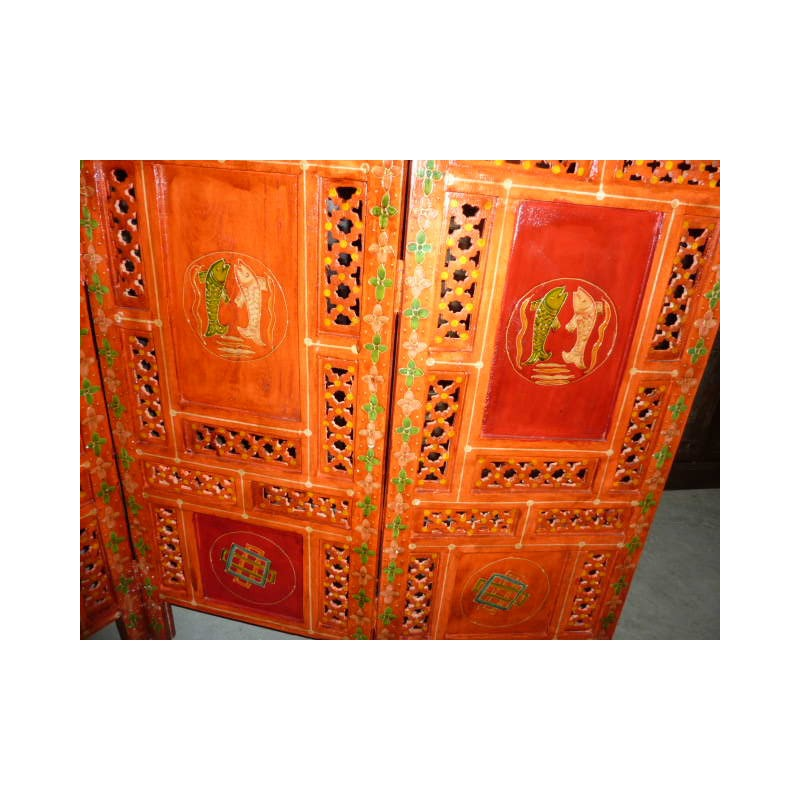 paravent t te de lit signes buddhist orange rg. Black Bedroom Furniture Sets. Home Design Ideas