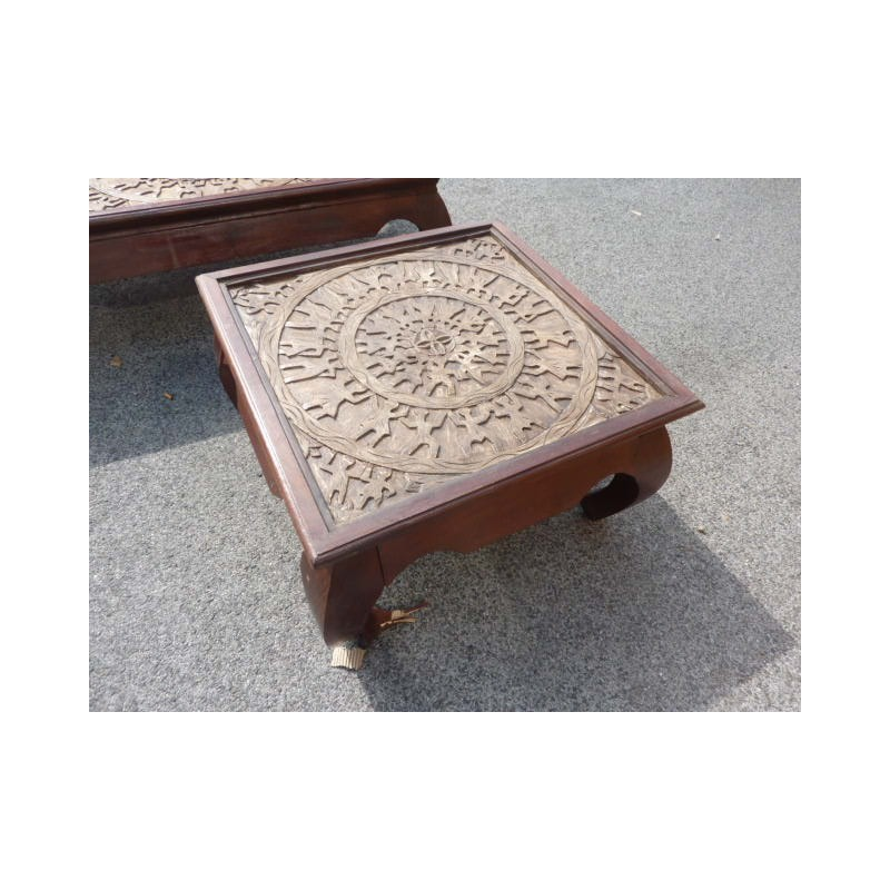 Table Basse Tribal 75x75x40cm En Palissandre Massif