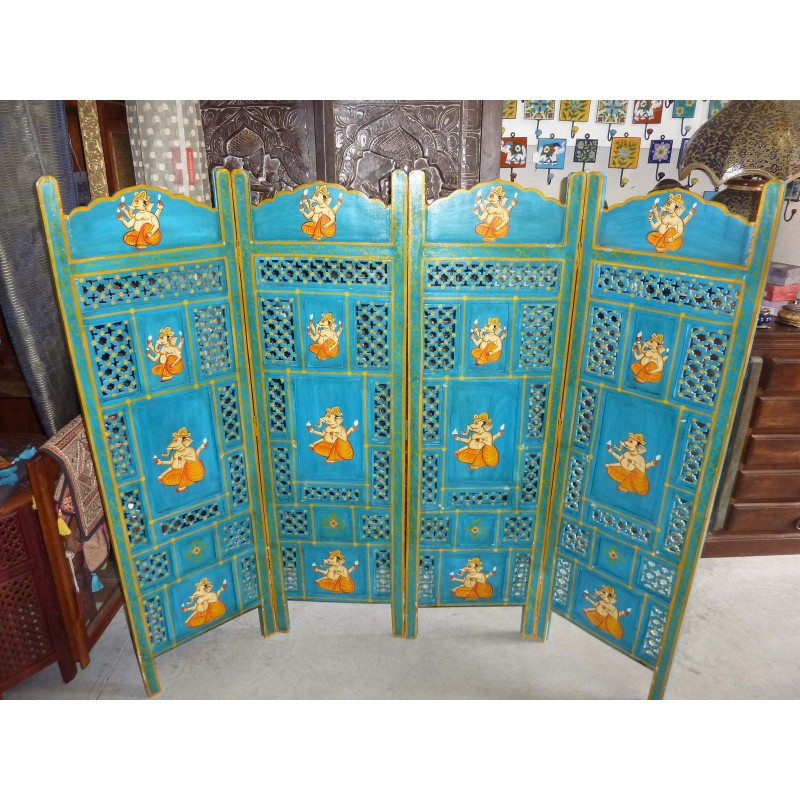 paravent t te de lit lord ganesha turquoise. Black Bedroom Furniture Sets. Home Design Ideas
