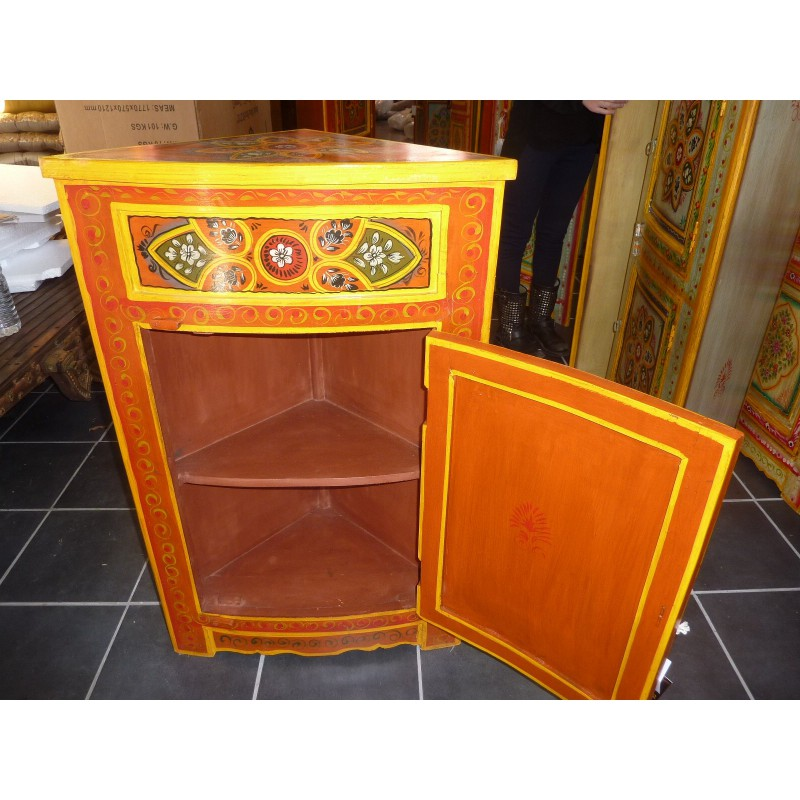 Meuble d 39 angle chevet peint orange fleur meubles indiens for Meuble orange