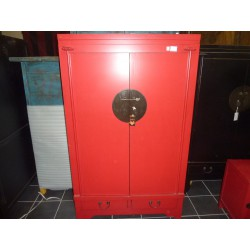 Armoire basse rouge 2 tiroirs 2 portes