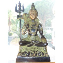 Grand bronze de Shiva assis avec trident