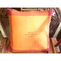 Housse 40x40 cm orange/bordeaux couture
