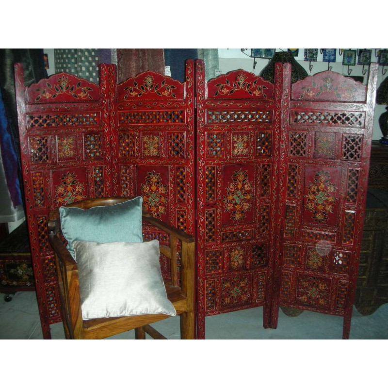 paravent t te de lit relief fleur rouge vieux meubles et antiquit s du nord de l inde. Black Bedroom Furniture Sets. Home Design Ideas