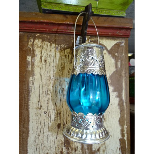 Lanterne de table photophore turquoise