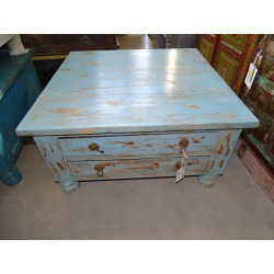 Table basse carrée 4 tiroirs Turquoise