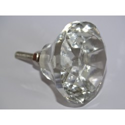 Bouton en verre en forme de DIAMANT 45 mm transparent