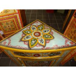 Boutons en porcelaine marron fleur noire