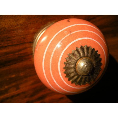 Boutons en porcelaine trait blanc/orange