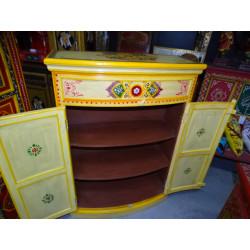 Boutons en porcelaine 3 fleurs bleues/oranges
