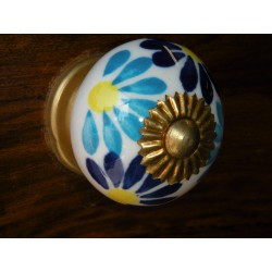 Boutons en porcelaine turquoise outremer