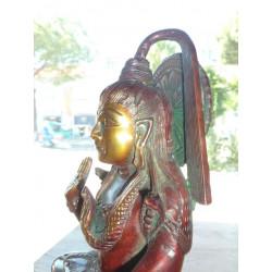patère céramique 8x8 cm 5 fleurs turquoises et blanc