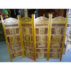 voilage Madras carreaux or et bordeaux