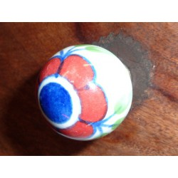 Boutons boule Grosse fleur rouge/outremer