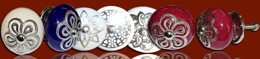 Poignée porcelaine et métal
